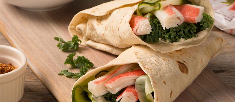 Tortilla-Wraps-with-Simply-Surimi-Harissa-Yogurt-Pickled-Cucumber
